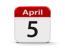 5th April. Calendar web button - Fifth of April, three-dimensional rendering Royalty Free Stock Image