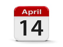14th April. Calendar web button - Fourteenth of April, three-dimensional rendering Royalty Free Stock Image