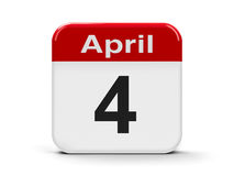 4th April. Calendar web button - Fourth of April - World rat day and Web developer day, three-dimensional rendering royalty free illustration