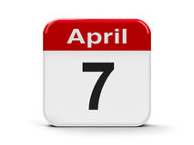 7th April. Calendar web button - Seventh of April - World Health Day and Commemoration of the Rwanda Genocide, three-dimensional rendering Royalty Free Illustration