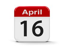 16th April. Calendar web button - Sixteenth of April, three-dimensional rendering Royalty Free Stock Photography