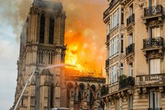 Notre-Dame Firefighters. On the 15th April 2019, Notre Dame de Paris went up in flames stock photography
