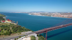 25th of April Suspension Bridge over the Tagus stock footage