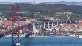 25th of April Suspension Bridge over the Tagus stock video footage