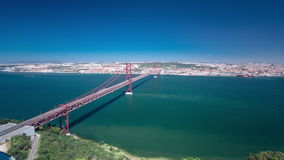 25th of April Suspension Bridge over the Tagus stock video
