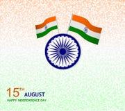 15th august önskakortillustration med flaggan Royaltyfri Foto