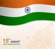 15th august önskakortillustration med flaggan Royaltyfri Bild