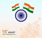 15th august önskakortillustration med flaggan Arkivfoton