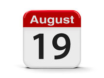19th August. Calendar web button - The Nineteenth of August - World Humanitarian Day and World Photography Day, three-dimensional rendering, 3D illustration Royalty Free Stock Images