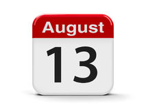 13th August. Calendar web button - The Thirteenth of August - International Lefthanders Day, three-dimensional rendering, 3D illustration stock illustration