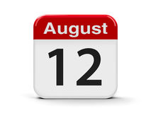 12th August. Calendar web button - The Twelfth of August - International Youth Day, three-dimensional rendering, 3D illustration royalty free illustration