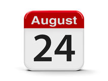 24th August. Calendar web button - The Twenty Fourth of August - Independence Day of Ukraine, three-dimensional rendering, 3D illustration Royalty Free Stock Photo
