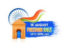 15th of August, Freedom Sale Banner Design with 50% Off Offers,. India Gate. Ashoka Wheel on Blue abstract background Stock Photo