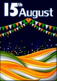 15th August, Happy Independence Day of India background. In vector royalty free illustration