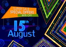 15th August, Happy Independence Day of India shopping sale and promotion advertisement background. In vector vector illustration