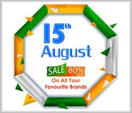 15th August, Happy Independence Day of India shopping sale and promotion advertisement background. In vector royalty free illustration