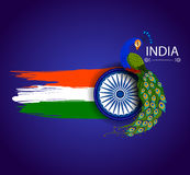 15th August Independence av Indien tricolor bakgrund Royaltyfria Bilder