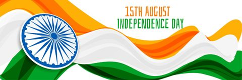 15th of august independence day of india with wavy flag design. Vector stock illustration