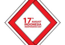 17th August Independence day Indonesia red frame on white design holiday celebration. Illustration stock illustration