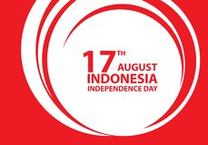 17th August Independence day Indonesia red text on white circle design holiday celebration vector. Illustration royalty free illustration