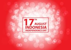 17th August Independence day Indonesia white bokeh on red text frame design holiday celebration vector. Illustration royalty free illustration