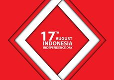 17th August Independence day Indonesia white frame on red design holiday celebration vector. Illustration royalty free illustration