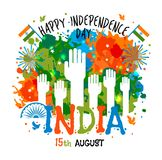 15th August, India Independence Day celebrations concept with colors blots and hands in national flag color theme. 15th August, India Independence Day stock illustration