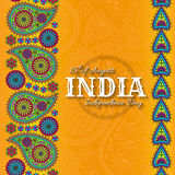 15th of August India Independence Day. Greeting card with paisley ornament. Vector illustration Royalty Free Stock Images