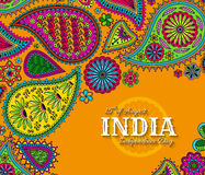 15th of August India Independence Day. Greeting card with paisley ornament Royalty Free Stock Photos