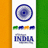 15th of August India Independence Day. Greeting card with paisley ornament. Vector illustration royalty free illustration