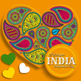 15th of August India Independence Day. Greeting card with paisley ornament. Vector illustration Royalty Free Stock Photo