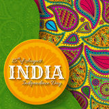 15th of August India Independence Day. Greeting card with paisley ornament. Vector illustration stock illustration