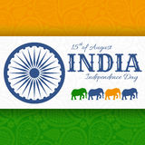 15th of August India Independence Day. Greeting card with paisley ornament Stock Photos