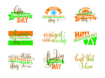 15th of august india independence day logo design. Set, label collection vector illustration Stock Images