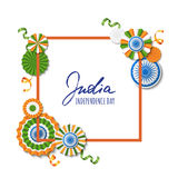 15th of August, India Independence Day. Vector paper stars in Indian flag colors, ashoka wheel, hand drawn calligraphy. Holiday frame for greeting card, banner Vector Illustration