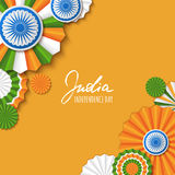 15th of August, India Independence Day. Vector paper stars in Indian flag colors, ashoka wheel, hand drawn calligraphy. Stock Photography