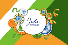 15th of August, India Independence Day. Vector paper stars in Indian flag colors, ashoka wheel, hand drawn calligraphy. Stock Image