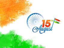 15th August, Indian Independence Day celebration concept with As. Hoka Wheel, and Waving Flag Royalty Free Stock Photos