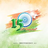 15th August, Indian Independence Day celebration concept with st. Ylish text, ashoka wheel on grungy colour background Stock Image
