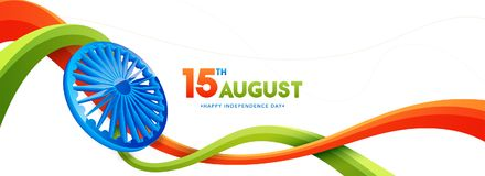 15th of August, Indian Independence Day celebration web header o. R banner design with Ashoka Wheel and saffron and green colour waves on white background Royalty Free Stock Photography