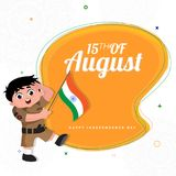 15th of August, Indian Independence Day concept with cute boy sa. Luting and holding Indian flag on yellow and white background stock illustration