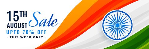 15th august indiska självständighetsdagenförsäljningsbaner med flaggan royaltyfri illustrationer