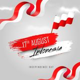 17th August, Indonesian Independence Day banner or poster design. With Waving flag in national flag colors background stock illustration