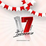 17th August Indonesian, poster or banner design with bunting fla. Gs. Independence Day Celebration vector illustration