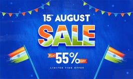 15th August Sale, affisch- eller banerdesign med 55% av erbjudanden, W stock illustrationer