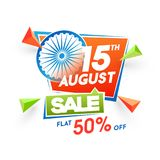15th of August sale, poster or banner design with Ashoka Wheel a. Nd 50% off offers on white background Royalty Free Stock Photos