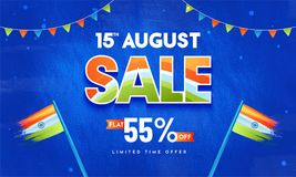 15th August Sale, Poster or Banner Design with 55% Off Offers, W. Aving Flags on Blue Abstract Background stock illustration