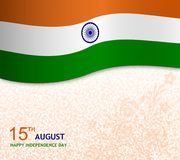 15th august wishes card illustration with flag. And beautiful texture. greeting card stock illustration