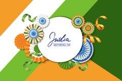 15th Augusti, Indien självständighetsdagen Färgar pappers- stjärnor för vektor i indisk flagga, ashokahjulet, hand dragen kalligr Fotografering för Bildbyråer