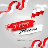 17th Augusti, indonesiskt självständighetsdagenbaner eller affischdesign stock illustrationer